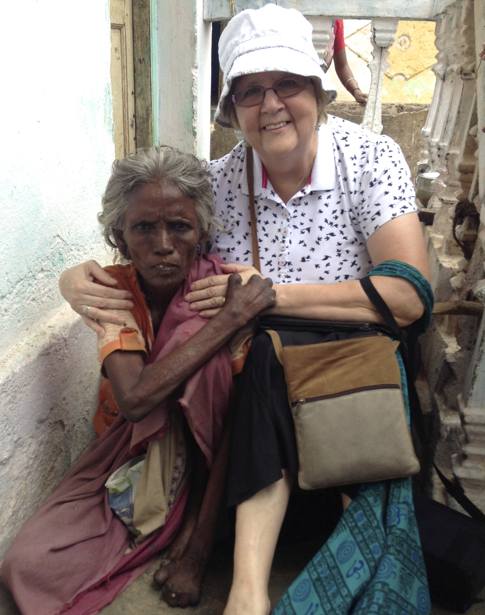 Canon Pat with a leprosy sufferer